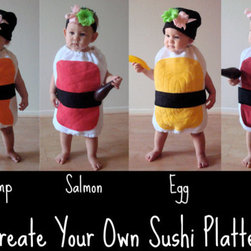 Delicious Nigiri Sushi Baby or Toddler Costume - These sushi baby costumes are good enough to eat at a costume party. The wasabi/ginger headband accent is the sweetest part of this ensemble. I'll take them all.