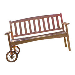 Joie de Vivre - Wayfarer Rolling Bench - Teak & Country - Have you ever wished you could easily move your bench to follow the sun's rays, or instead keep your bench in the cool of the shade? Ever wondered where to keep your mug and glass once you're seated on a garden bench? Ever felt like your bench could be more comfortable?