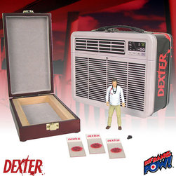 KOOLEKOO - Dexter Figure in Tin Tote - Just like Dexter, you can hide your blood slides and victim data in this themed tin tote that looks like an air conditioner and features the Dexter logo. In fact, inside the metal lunch box you'll find 3 blood slides, a wooden slide box, and a 3 3/4-inch action figure of the serial-killer serial killer himself� complete with camera and ID badge. This gift set includes them all!