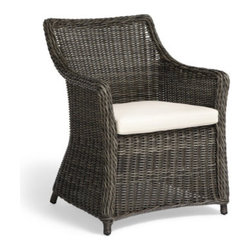 Grandin Road - Julianna Woven Chair - Versatile wicker outdoor chair offers classic style to porches and patios of all sizes. All-weather surfaces are woven from driftwood-hued polyethylene wicker strips. Powdercoated aluminum frame. Natural seat cushion included. Picture a pair on your porch or gather a group around your outdoor dining table; whether you have a balcony, porch, or patio, our Julianna woven chair is sure to be a perfect fit. We've coupled comfortable and compact proportions with an all-weather woven texture, taking the familiar form of a classic wicker armchair and making it the ideal size for all kinds of outdoor entertaining.  .  .  .  .