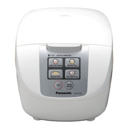 Panasonic - Panasonic Fuzzy Logic White 10-cup Rice Cooker - Small on size and large on multitasking,Panasonic's smartly designed microcomputer-controlled Fuzzy Logic rice cooker takes the stirring,hovering,checking,and temperature adjusting right out of dinner preparations,so you can sit back and enjoy.