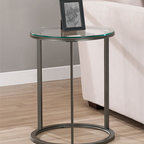 None - Round Glass Top Metal End Table - Update your home decor with this stylish round metal end table. A tempered glass top and a scratch-resistant powder coat finish on the frame complete this stylish end table.