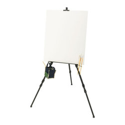 Alvin and Company - Large Aluminum Field Easel with Grooved Canva - Includes brush holder, basin hook and Nylon carry case. 2 Sets of shelf brackets to fit a greater range of canvas and pad sizes. Reinforced 20 in. canvas shelf with panel groove. Rectangular profile frame for extra strength. Heavy-duty aluminum construction for tabletop, studio, display, or field use. Holds canvases, signs, or pads from 7-54 in. in height and 1.25 in. thick. Holds up to 25 lbs., yet weighs only 2 lbs. 10 oz.. 76 in. height when fully extended, closed size is 27 in.. Ideal for painting, sketching, and commercial display