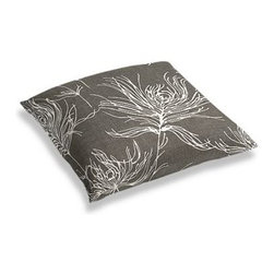 """Dark Gray Feather Print Custom Floor Pillow - A couch overflowing with friends is a great problem to have.  But don't just sit there: grab a Simple Floor Pillow.  Pile """"""""""""em up for maximum snugging or set around the coffee table for a casual dinner party. We love it in this modern print with giant white feathers floating across a heathered charcoal cotton ground."""