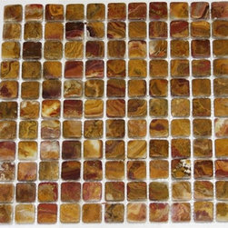 Multi Brown Gold Tumbled Mesh-Mounted Onyx Mosaic Tiles - 1 in. x 1 in. Multi Brown Gold Mesh-Mounted Square Pattern Onyx Mosaic Tile is a great way to enhance your decor with a traditional aesthetic touch. This tumbled mosaic tile is constructed from durable, impervious onyx material, comes in a smooth, unglazed finish and is suitable for installation on floors, walls and countertops in commercial and residential spaces such as bathrooms and kitchens.