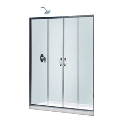 """BathAuthority LLC dba Dreamline - Visions Frameless Sliding shower door, 56 - 60"""" W x 72"""" H, Chrome - The Visions sliding shower door delivers a polished look with a frameless glass design and a unique four panel configuration. The two outer panels are stationary, while the two inner panels slide open to create a center point of entry, an excellent solution when traditional right or left opening doors prove to be an awkward choice."""