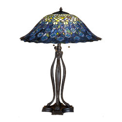 Meyda - 30 Inch Height Tiffany Peacock Feather Table Lamps - Color theme: Green/Blue  Purple/Blue Light Blue Aqua/Green