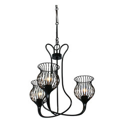 Varaluz Lighting - Encaged 3-lts Chandelier - Design-conscious with an eco-conscience - Varaluz fuses the art of illumination with environmentally-friendly innovation. Offering a complete range of traditional and contemporary lighting, Varaluz maintains an unparalleled commitment to sustainable materials, hand-craftsmanship, and responsible manufacturing and distribution. Each Varaluz fixture is created from 70% or greater recycled content, merging a trash-to-treasure sensibility with timeless beauty.