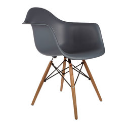 """Montmartre Arm Chair in Gray - Some designs were ahead of their time. Considered the chair of tomorrow both for its design and its innovative single-mold manufacturing process, the Montmartre Arm Chair is inspired by one of the most iconic mid-century furniture designs. Created in the spirit of economy and affordability, its unique shape was designed to spread the sitter's weight and pressure evenly. The deep seat and waterfall edge provide additional comfort as the design shapes itself around the body's curves, while its ashwood dowel legs add a classic touch. If you've done away with formality in your home, the Montmartre Arm Chair is that one piece of furniture that exemplifies the """"less is more"""" ethos. It's the ultimate seat that goes well in a variety of different settings: as a home office chair, an entryway slipper seat, or a statement piece in the living room."""
