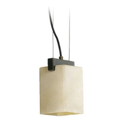 Quorum Lighting - Bronze Mini-Pendant Light with Amber Frosted Shade - 3176-95 - Mini-pendant light with bronze finish, square ceiling canopy, and frosted amber glass rectangle shade. Takes (1) 60-watt incandescent A19 bulb(s). Bulb(s) sold separately. UL listed. Dry location rated.
