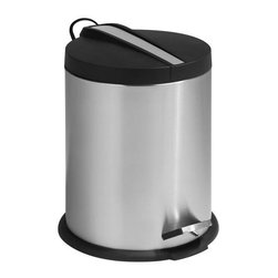 Honey Can Do - 5L Round Step Can w Stainless Steel Insert - 5 L Round SS Step Can- black plastic lid with SS insert down middle. Includes removable inner bucket. Carrying handle. Easily wiped clean