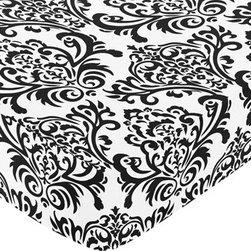 Sweet Jojo Designs - Isabella Black and White Crib & Toddler Sheet - Damask Print by Sweet Jojo Desig - The Isabella Black and White Crib & Toddler Sheet - Damask Print by Sweet Jojo Designs, along with the  bedding accessories.