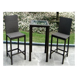 """PrimeGlo - Resin Wicker Chocolate Bar Height Bistro Set - 3 piece outdoor resin wicker bistro set. This set comes with 2 bar height chairs and a 24"""" table. The table is topped with tempered glass. Chair Dimensions: 18 in. W x 18 in. D x 36 in. H . Table Dimensions: 24 in. W x 24 in. D x 30 in. H"""