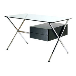 Knoll - Albini Desk - Clear your mind by simplifying your workspace with this modern desk. The strong metal frame provides pure lines, and the glass top is the apex of clarity. With an ebonized oak drawer for storage, you'll find respite in the ease this desk provides to your work.