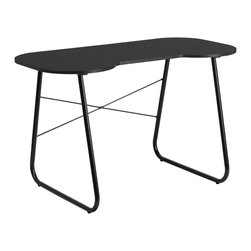 Flash Furniture - Flash Furniture Black Computer Desk with Black Frame - This spacious Computer Desk has a simple design when needing a desk for writing, reading, homework and laptop usage. This desk features a small cutout that allows you to pull your chair close up to the desk.