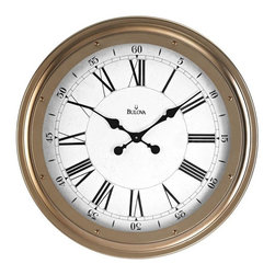 BULOVA - Bulova Wingate 25 inch Metal Case Wall Clock - Metal case, antique gold finish.