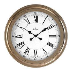 BULOVA - Bulova Wingate 25 inch Metal Case Wall Clock - Metal case, antique gold finish.