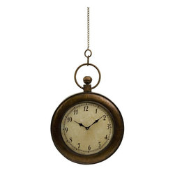 Pocket Watch Wall Clock - Antique look oversized pocket watch as wall clock. Made of iron with a glass face. This pocket watch was definitely not made for your pocket, but will look great on your wall.