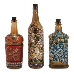 """Imax - Reclaimed Hand-Painted Floral Design Bottles - Set of 3 - *Dimensions: 9.5-9.5-11.5""""h x 2.5-3-3""""d"""