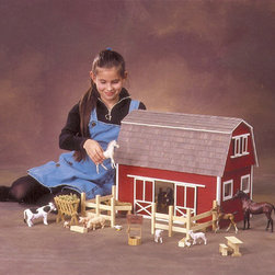 "Real Good Toys - Ruff 'n Rustic All American Barn Dollhouse - Features: -Complete Kit includes everything you need to finish as shown (paint, glue, curtains and any landscaping or furnishings are not included). -Precision Workmanship - engineered parts pre-cut to really work. -Sturdy Construction features 3/8"" thick milled clapboard exterior walls and grooved sidewalls for easy, one-step assembly, guaranteed fit and durability. -Wooden shingles for the roof. -Farm animals are not included. -Fences and furnishing are made from pine molding that supplied in easy to cut lengths. -Not recommended for children under the age of 3. -Overall Dimensions: 19"" H x 22.5"" W x 14"" D . Recommended Supplies (not included): -Hammer. -Fine Toothed Saw. -Glues. -Utility Knife. -Masking Tape. -Sandpaper: 100 and 320 grit. -Paints. -Paint Brushes. -Ruler. -Screwdriver ."