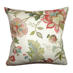 "The Pillow Collection - Adele Crewels Pillow Multi 18"" x 18"" - Add an elegant accent piece in your living room with this crewel pillow. This throw pillow features charming and vivid floral embroidery in multicolor: green,red yellow, brown and blue. The square pillow can be placed as a cushion for your sofa or chair. This decor pillow is made from 70% cotton and 30% linen. Hidden zipper closure for easy cover removal.  Knife edge finish on all four sides.  Reversible pillow with the same fabric on the back side.  Spot cleaning suggested."