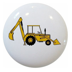 Carolina Hardware and Decor, LLC - Backhoe Ceramic Cabinet Drawer Knob - 1 1/2 inch white ceramic knob with one inch mounting hardware.  Great as a cabinet, drawer, or furniture knob.  Adds a nice finishing touch to any room!