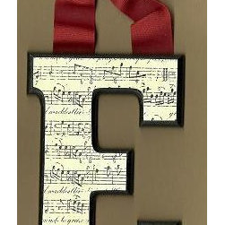 Musical Black And White Letters By Brooklyn Hilts - It's super easy to decoupage a wooden monogram (I have instructions on my blog). Use sheet music instead of scrapbook paper to create a musical monogram.