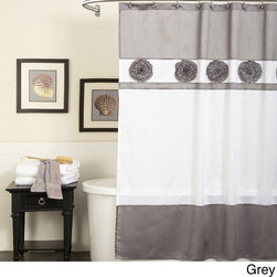 Lush Decor - Lush Decor Seascape  Shower Curtain - Delicate gathered flowers accent this tonal shower curtain from Lush Decor. Constructed of faux silk, this shower curtain is available in several color palettes.