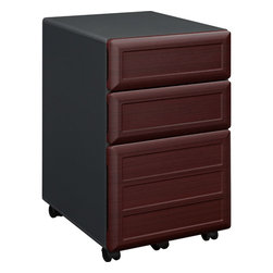 Altra - Pursuit Vertical File - If you need some extra file space this is a great option. It has two small item storage drawers and a lower file drawer. On top of that it fits under the desks in this collection and it is mobile.