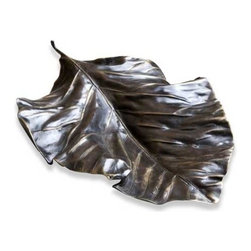 Interlude Home - Interlude Home Lalana Leaf Platter - The Isha Leather Tray consists of a polished nickel finished steel tray with natural brown leather carrying handles.