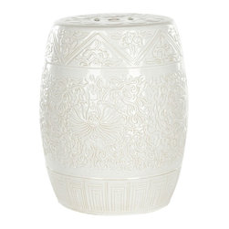 Safavieh - Safavieh Lotus Garden Stool X-B2054SCA - Swirling white lotus flowers and vines are embossed on the lustrous Lotus Garden stool, a versatile piece that serves as sculptural decorative accent, table, foot rest and even a plant stand.  Crafted of high fired ceramic, this classic oriental garden stool is crowned with the traditional cutout prosperity coin symbol.