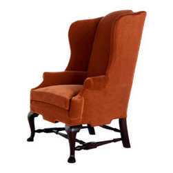 The Bellington Chair - Elegant and stately, this chair would be a star in any room.  Cinnamon velvet upholstery will add luxury to your home.  This chair would be gorgeous in a living room...a pair would be perfect flanking a fireplace.