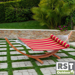 Red Star Traders - RST Cantina Arc Hammock Stand with Striped Poly Hammock with Bolster Pillow - Lie back and sink into deep relaxation with our hammock bed and frame set, featuring a matching bolster pillow so that you can truly unwind.