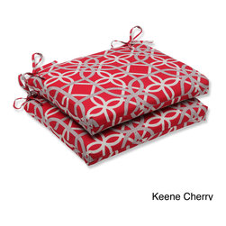 Pillow Perfect - Pillow Perfect Keene Squared Corners Outdoor Seat Cushions (Set of 2) - Relax in style and comfort on this set of weather- and UV-resistant outdoor seat cushions with squared corners. Infused with a unique contemporary geometric pattern, these seat cushions include a new and improved polyester fiber filling