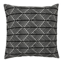 Spring & Spruce - Norwich Pillow- Black/White - We look for pillows that stand out in their design, and the Norwich's scalloped layers of striped triangles is unlike any other pillow we've seen. A thick front weave creates a soft but sturdy feel, while the rich white and black colors creates a pillow that can stand alone as a centerpiece.