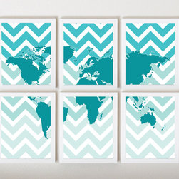 World Map on Ombre Chevron in Teal in 6 Pieces by Third Floor Design Studio - Add some flair to your home with this chevron, ombré world map.