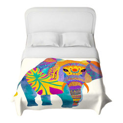 DiaNoche Designs - Whimsical Elephant I Duvet Cover - Lightweight and super soft brushed twill duvet cover sizes twin, queen, king. Cotton poly blend. Ties in each corner to secure insert. Blanket insert or comforter slides comfortably into duvet cover with zipper closure to hold blanket inside. Blanket not included. Dye Sublimation printing adheres the ink to the material for long life and durability. Printed top, khaki colored bottom. Machine washable. Product may vary slightly from image.
