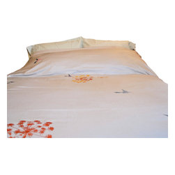 Queen Anne's Lace King Duvet Cover Set, King - Queen Anne's Lace is made of high quality Egyptian cotton for an extra soft, cozy sleep. The duvets and shams all come with snap closures for ease, style and durability. Each image is hand printed with a careful, loving hand.  This is a fresh take on my hummingbirds design and includes new floral prints to compliment the fresh blooms and beautiful weather.  It is pictured in silver, but currently only available in white.  Please note your preference.