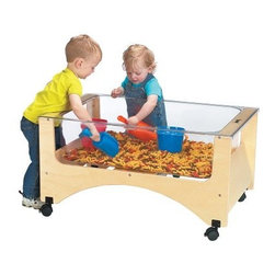 Jonti-Craft See-Thru Sand-N-Water Table - The See-Thru Sand-N-Water Table is the perfect size for a toddler. Provides ultimate splash control with the clear tuff nine-inch deep acrylic tub complete with a matching see-thru acrylic activity cover. Frame is made of Baltic Birch with locking casters. Drain with valve is included. Ready to assemble. About Jonti-CraftFamily-owned and -operated out of Wabasso Minn. Jonti-Craft is a leading provider of quality furniture for the early learning market. It offers a wide selection of creatively designed products in both wood and laminate materials. Its products are packed with features that make them safe functional and affordable. Jonti-Craft products are built using the strongest construction techniques available to ensure that your furniture purchase will last a lifetime.