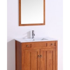 32 Inch Single Sink Bathroom Vanity in Golden Oak with a White Ceramic Top UVLFW