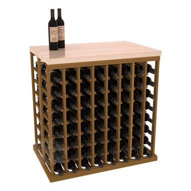 Double Deep Tasting Table Wine Rack Kit + Butcher Block Top in Redwood with Oak - The quintessential wine cellar island; this wooden wine rack is a perfect way to create discrete wine storage in open floor space. Includes a culinary grade Butcher's Block top. With an emphasis on customization, install LEDs to create an intimate wine tasting setting. We build this rack to our industry leading standards and your satisfaction is guaranteed.