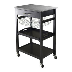 "Winsome Wood - Winsome Wood 20322 Julia Utility Cart in Black - Julia kitchen cart has granite top for easy to clean and plenty of functions. Cart includes on  a drawer,  a foldable metal basket,  a removable serving tray and fix bottom shelf plus on casters for mobility. Overall cart size is 22.68""W x 16.06""D x 34.13""H. Granite top size 22.68""W x 15.75""D. Inside drawer is 17.80""W x 12.40""D x 2.4""H. Foldable wire basket is 15.96""W top x 13.13""D x 4.02""H. Removable tray is 17.28""W x 12.54""D x 1.22""H. Black finish. Assembly required."