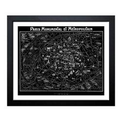 The Oliver Gal Artist Co. - Oliver Gal Artist Co. 'Paris Metropolitain Map 1920' Framed Art Print - Artist: Oliver Gal Artist Co.Title: Paris Metropolitain Map 1920Product type: Framed print
