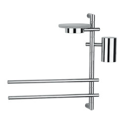 """WS Bath Collections - WS Bath Collections Bloom 2824 Bathroom Accessory Stand - Bloom 2824, 17.7"""" x 5.2"""" x 15.0"""",  Bathroom Accessory Stand with Soap Dish, (2) Towel Bars, and Toothbrush Holder in Polished Chrome"""