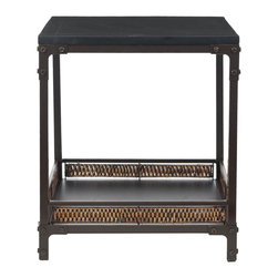 Safavieh - Dinesh End Table - The Dinesh end table pairs a casual style with industrial undertones. A black wood top and wicker-finished bottom shelf stand atop dark wlanut toned metal legs, which boast exposed rivets and brackets � a modern counterpoint to a traditional style. Minor assembly required.