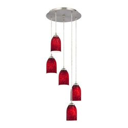 Design Classics Lighting - Modern Multi-Light Pendant with Red Art Glass and Five-Lights - 580-09 GL1018D - Satin nickel finish multi-light mini-pendant with flame red art glass dome shades. Includes one satin nickel five port ceiling canopy. Each mini-pendant comes with 7-feet of clear cuttable cord that allows for custom height adjustability for each pendant. Takes (5) 100-watt incandescent A19 bulb(s). Bulb(s) sold separately. UL listed. Dry location rated.