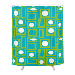 Crash Pad Designs - Renee Pedro Buggy Shower Curtain - The fun doesn't have to stop at the bathroom door. Our funky shower curtain will make your bathroom smile.