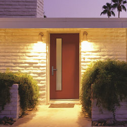 Mid2Mod -- A Trendspotting Guide to Interior and Exterior DOORS - Therma-Tru PULSE in Raucous Orange with Linea obscure glass lite.