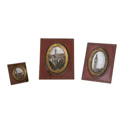 Uttermost Abeo Red Photo Frames Set/3 - Burnt red with brass accents. Burnt red with brass accents. Sizes: sm-5x5x1, med-8x10x1, lg-9x11x1. Holds photos 3x3, 4x6 & 5x7.