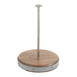 """Vintage Wooden and Galvanized Metal Paper Towel Holder - Wood reclaimed from 19th century buildings make a simple yet sophisticated reappearance in this hand finished paper towel holder. 12.6"""" Tall"""